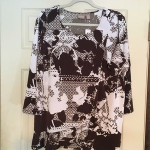 CHICO'S Women's Printed Top White/Brown Size 3